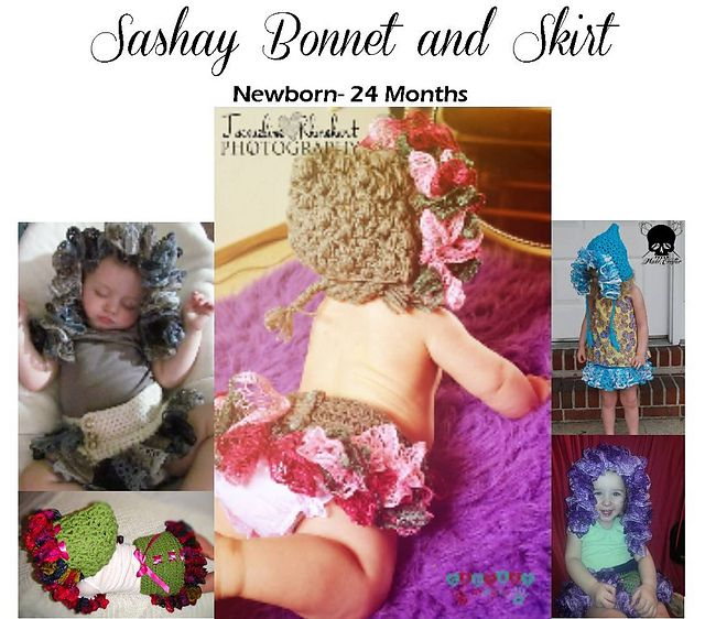 Sashay Bonnet & Skirt Set pattern by Too Yarn Cute