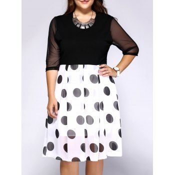 Chic Plus Size Polka Dot Print Hit Color Dress (BLACK,3XL) in Dresses | DressLily.com
