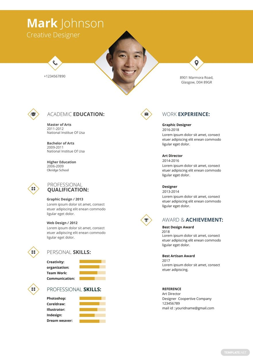 Free creative graphic designer resume in 2020 graphic
