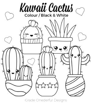 Kawaii Cactus Clipart: Color, Black and White, Paper, CU