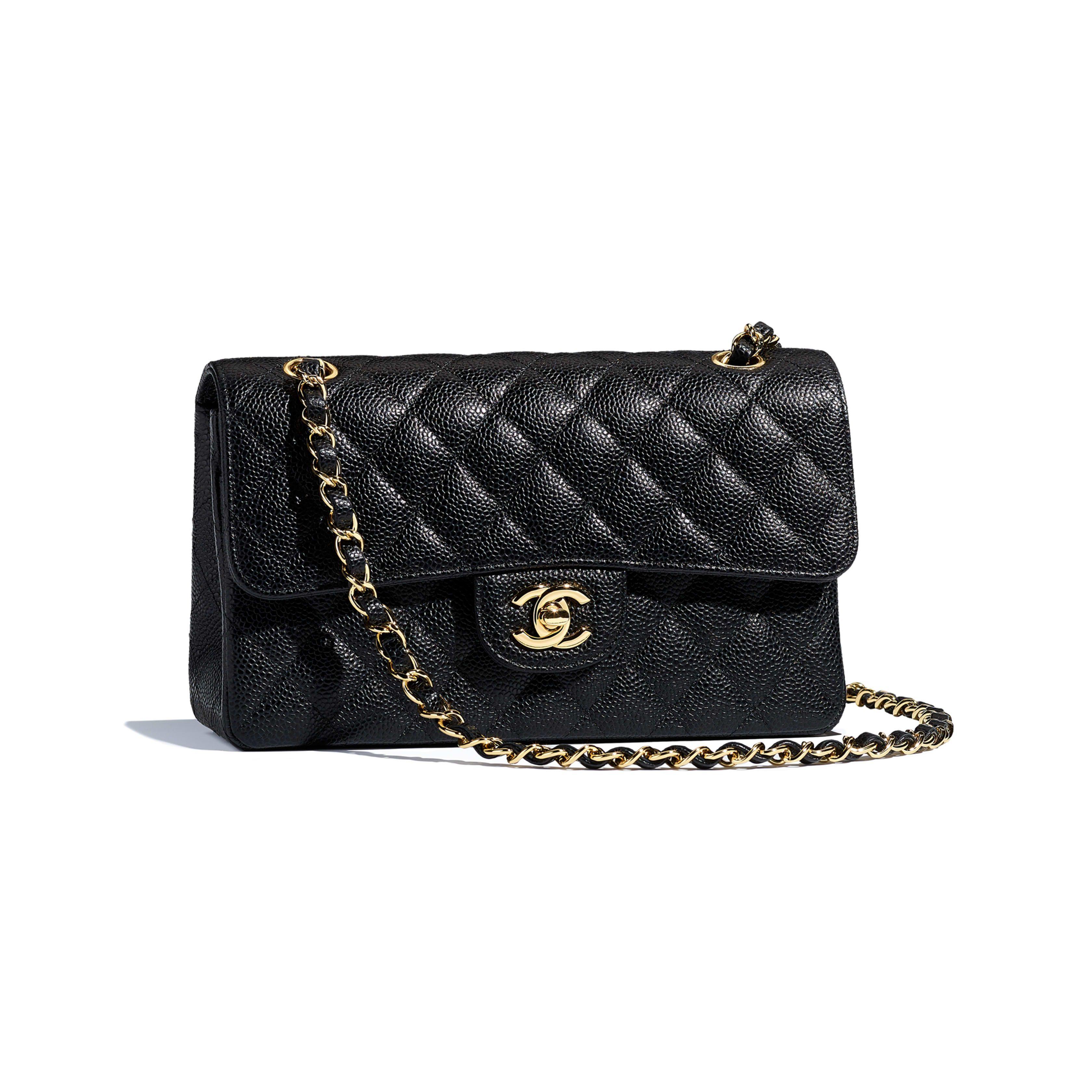 fbf1918271eb Chanel Small Classic Handbag Grained Calfskin & Gold-Tone Metal Black