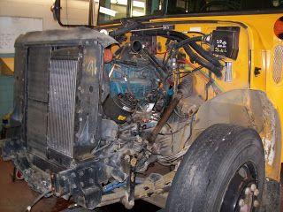 Conventional International school bus with DT466 diesel engine