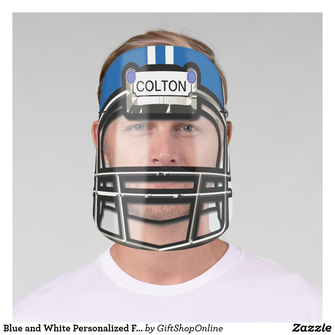 Blue and white personalized football helmet face shield