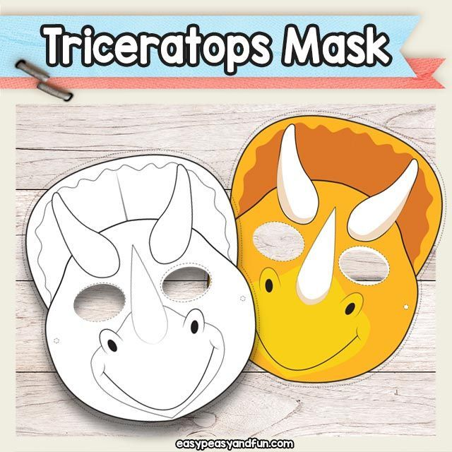Printable Triceratops Dinosaur Mask Template Art Projects for Kids