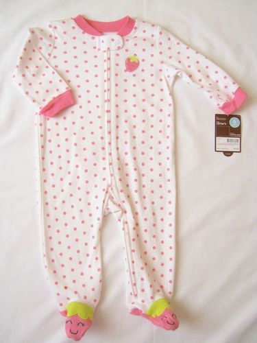 d8b89733c New Carters Baby Girl 6 Months Footed Pajama Sleepwear White Pink Strawberry  100% soft soft