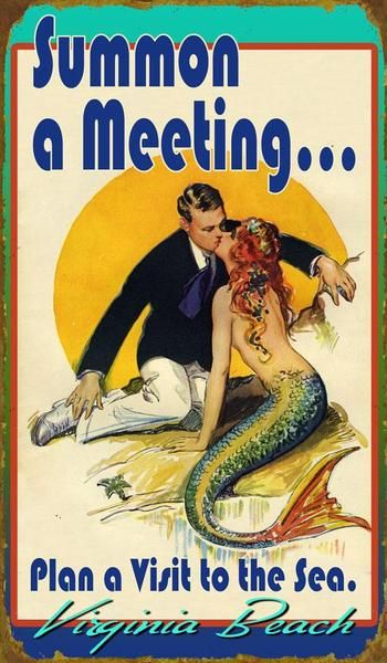 Vintage mermaid sign Summon a Meeting #mermaidsign