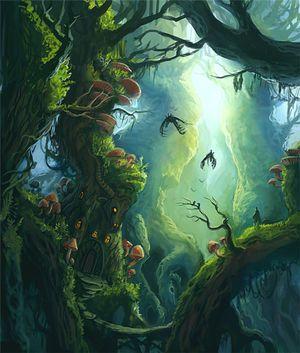 ファンタジー イラスト 森に棲む者達の住まい 幻想 画像集