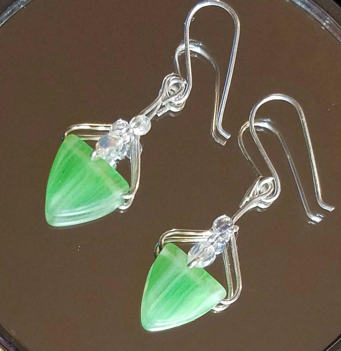 Spades of green earrings, sterling silvet earrings