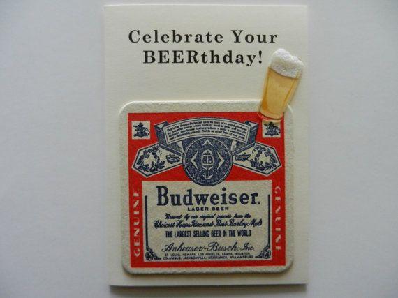 Budweiser Handmade Beer Birthday Greeting Card W Authentic