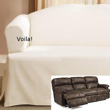 Sofa With Recliners Slipcover Dry Cleaners In Navi Mumbai Reclining T Cushion Off White Cotton Adapted For Dual Recliner Couch