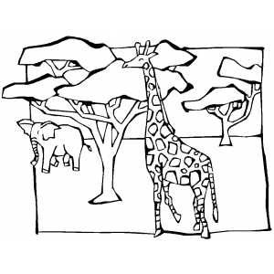 Giraffe And Elephant In Savanna Animal Coloring Pages Animal