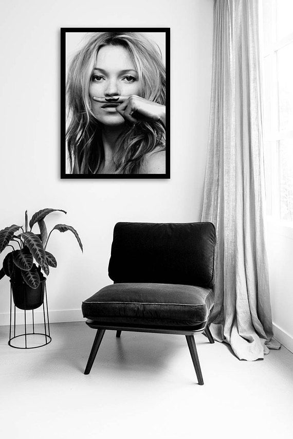 Add instant style to your walls with this black and white digital download of the iconic kate moss life is a joke poster by the famous fashion photographer