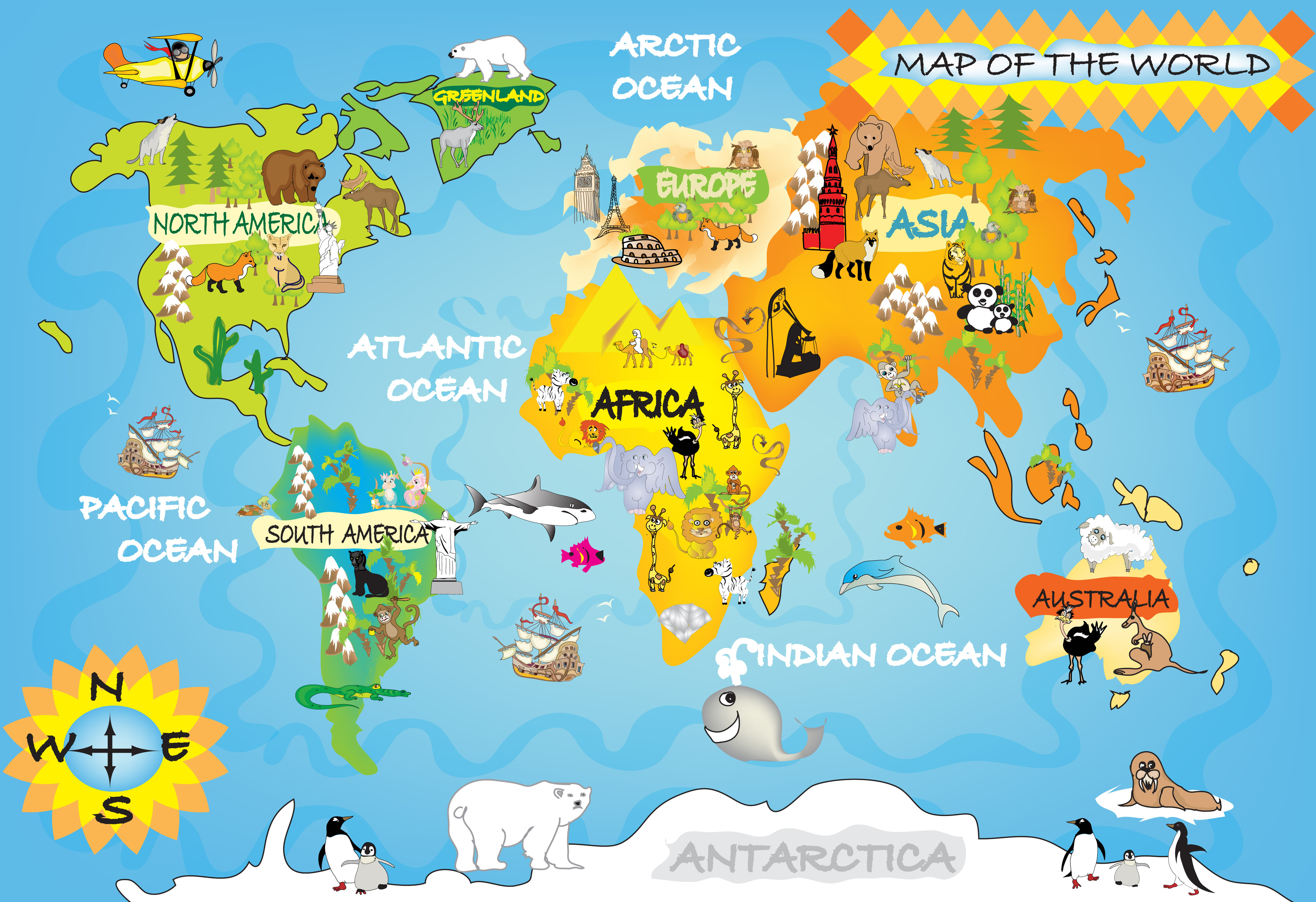 Kids World Map Within World Maps For Pix Gallery Pinterest - Map of europe for children