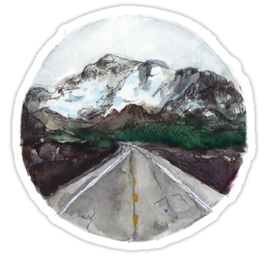 una pintura de una carretera que conduce a montañas con * encontrar su gran aventura * escrito en cursiva y los puntos principales fuera del círculo :). • Also buy this artwork on stickers, apparel, phone cases y more.