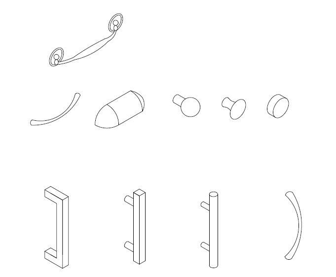 Archblocks Autocad Isometric Cabinet Hardware Block Symbols