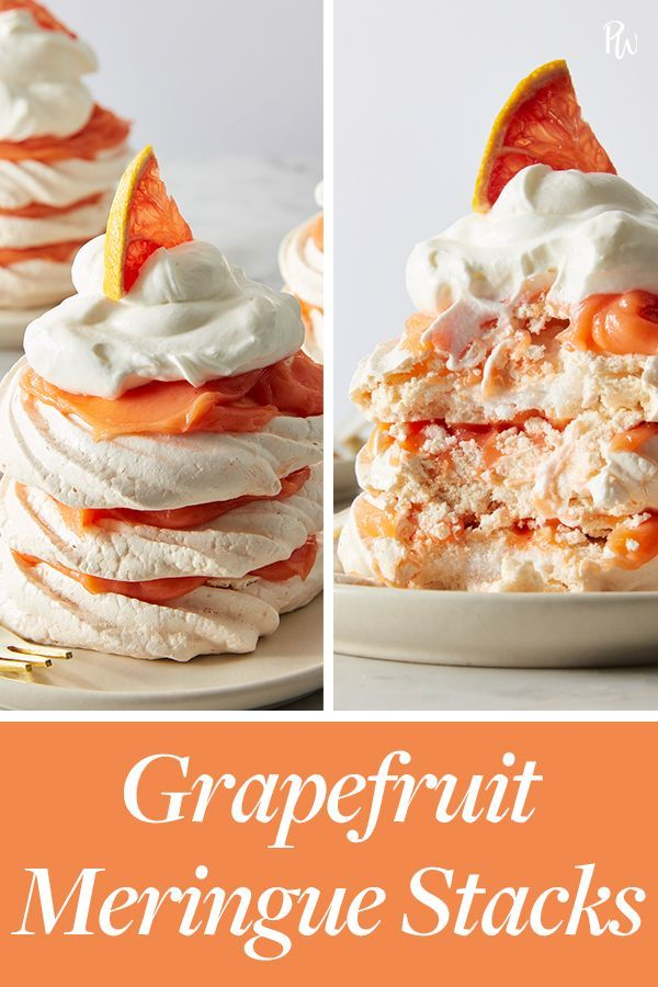 Grapefruit Meringue Stacks #purewow #recipe #sweet #dessert #food #baking #kitchen picks #cooking #easy #fruit #Desserts fruit Grapefruit Meringue Stacks