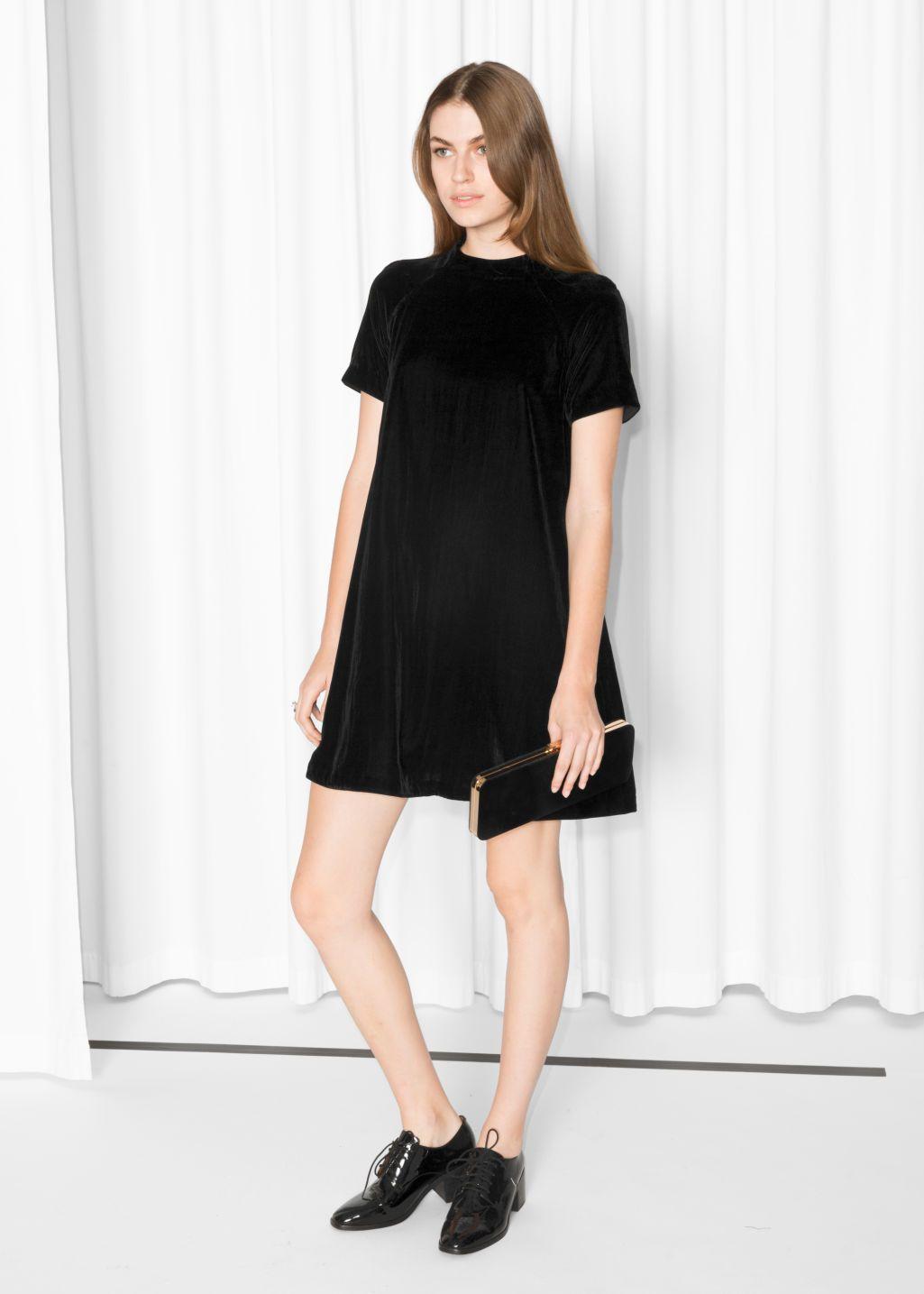 Model front image of stories aline velvet dress in black style
