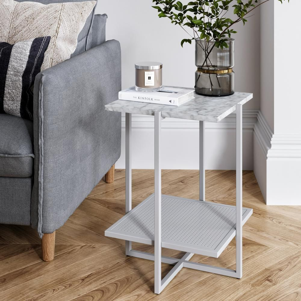 Nathan James Myles White Marble Top And White Metal Base 2 Tier Modern Accent Table White White Furniture End Tables End Tables With Storage