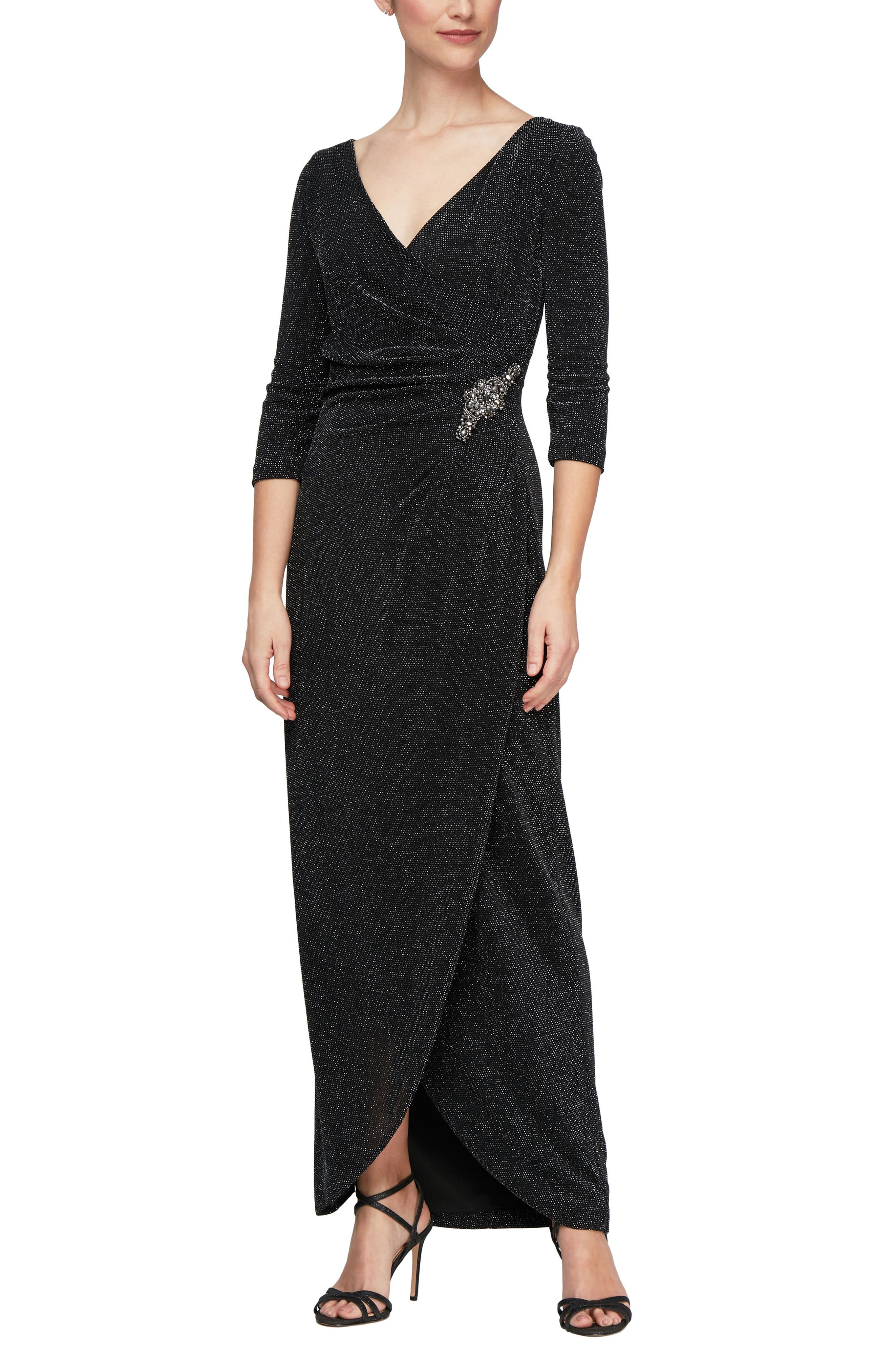Shine like the night sky in this elegant knit dress accentuated by a shimmering clasp at the waist and dusted with glitter. Style Name:Alex Evenings Surplice Metallic Knit Dress. Style Number: 6157259. Available in stores.