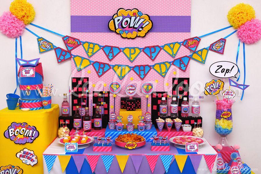 Title Vintage Superhero Girl Birthday Party Theme B77 Ii To