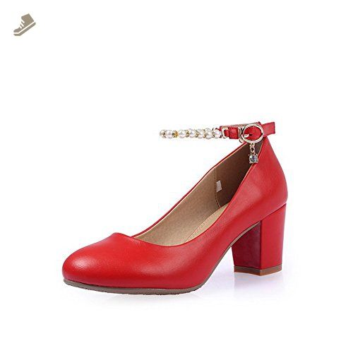 ca8ac961a36 VogueZone009 Women s Kitten Heels Soft Material Solid Buckle Round Closed  Toe Pumps-Shoes