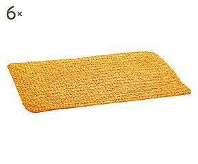 Set di 6 tovagliette americane effetto feltro giallo - 33x46 cm