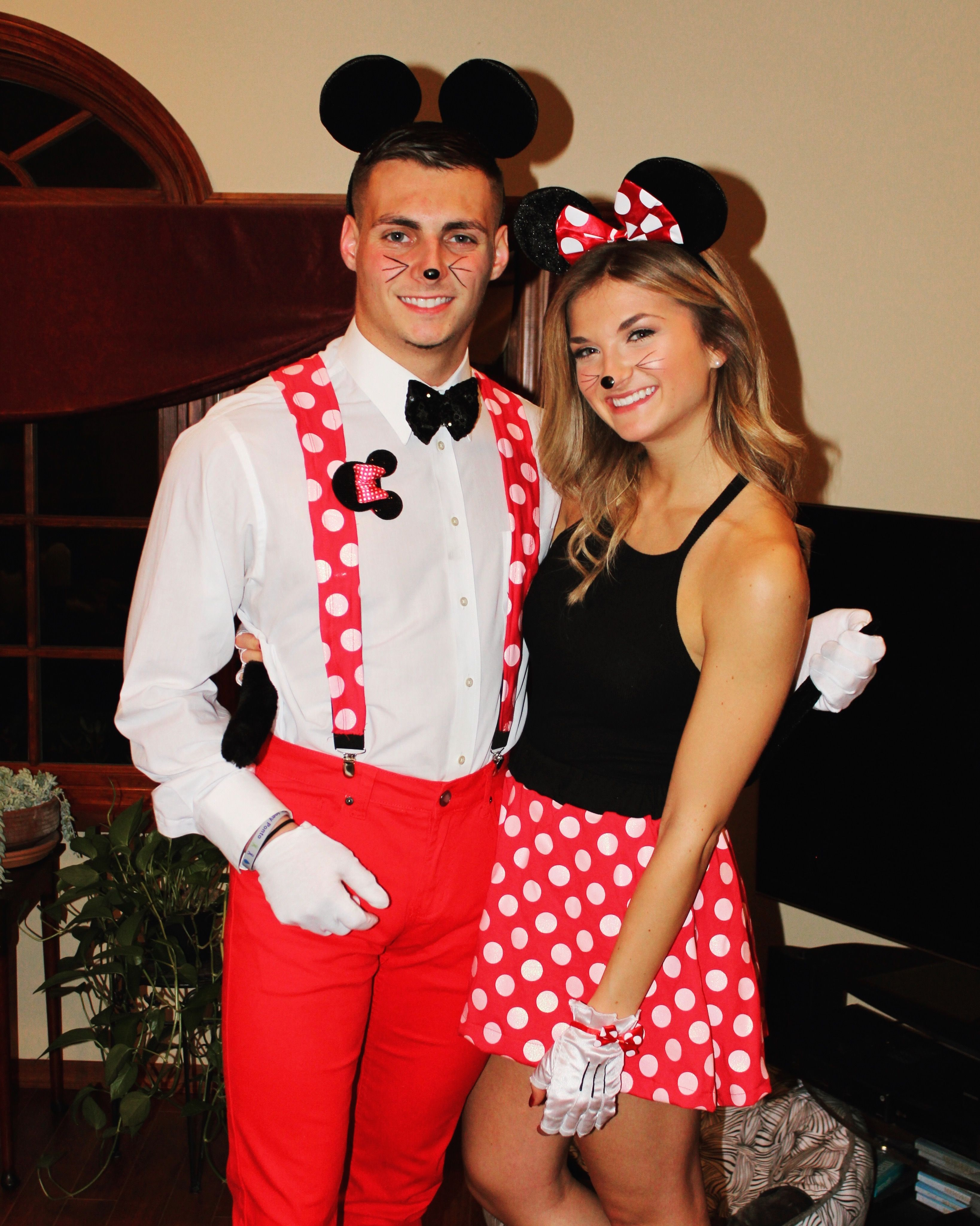 Couple halloween costume minnie mouse and mickey mouse