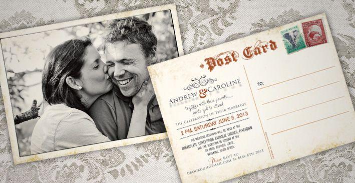 Vintage Postcard Wedding Invite
