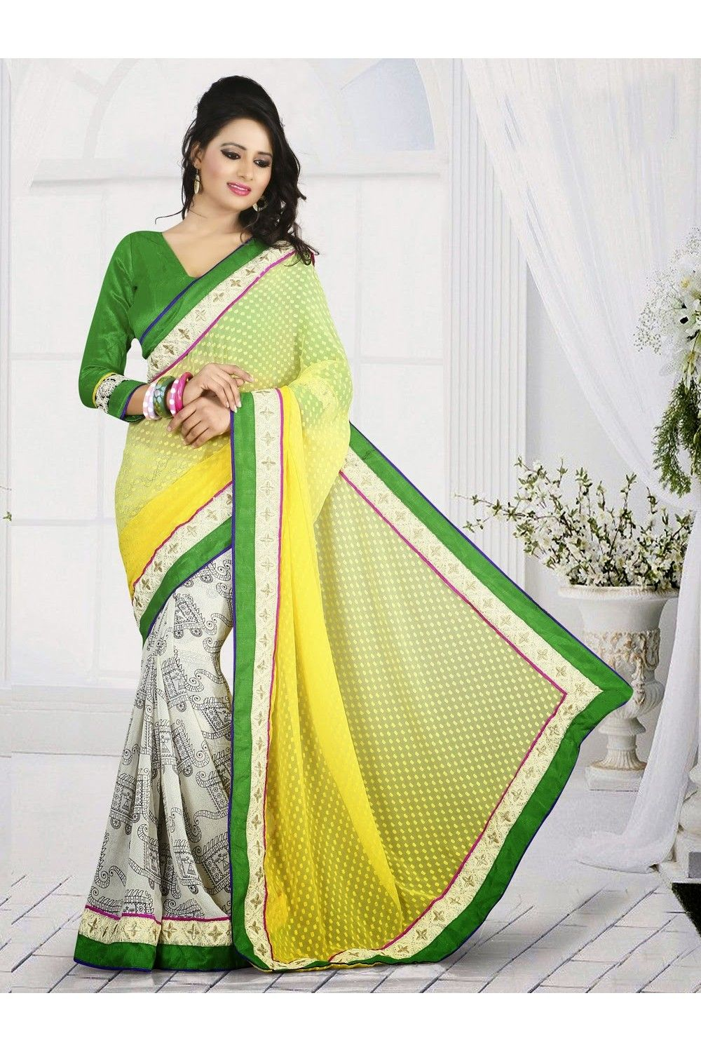 Captivative Off White u Yellow Embroidered Saree You Will Look