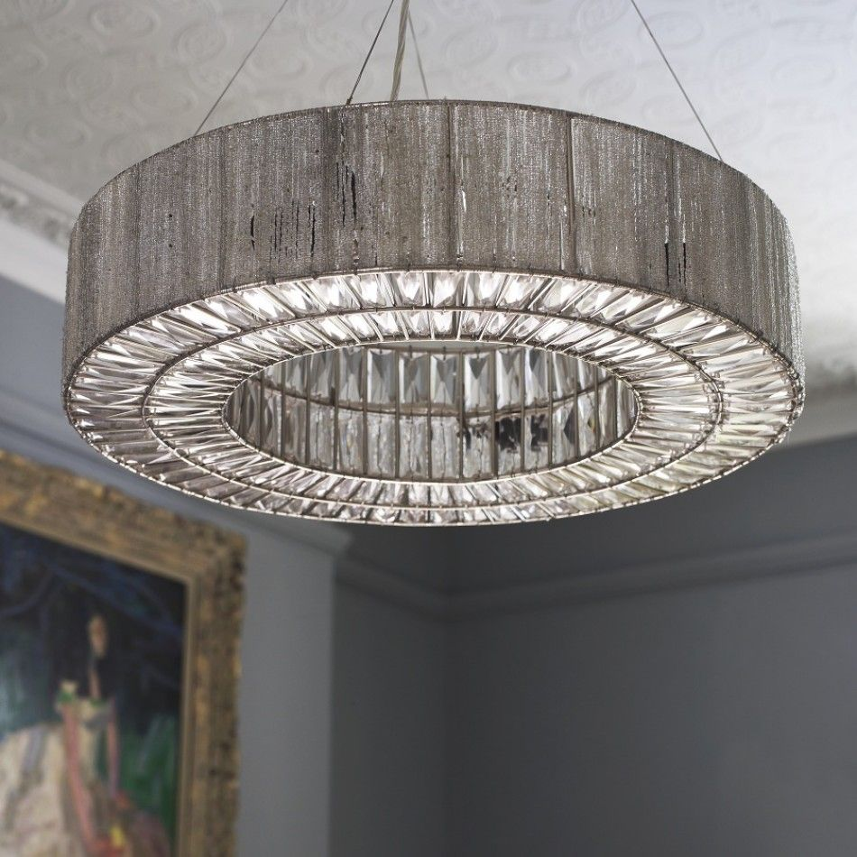 Bejeweled Silver Deco Inspired Beatrice Chandelier With Its