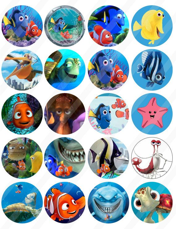 Finding Nemo 2 inches circle85x11 sheet  372 by Allsportsimages, $2.50