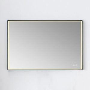 Blossom Led Mirror Stellar 48 X 36 Inch Aluminum Frame Matte Black In 2020 Led Mirror Led Mirror Bathroom Custom Shower Doors