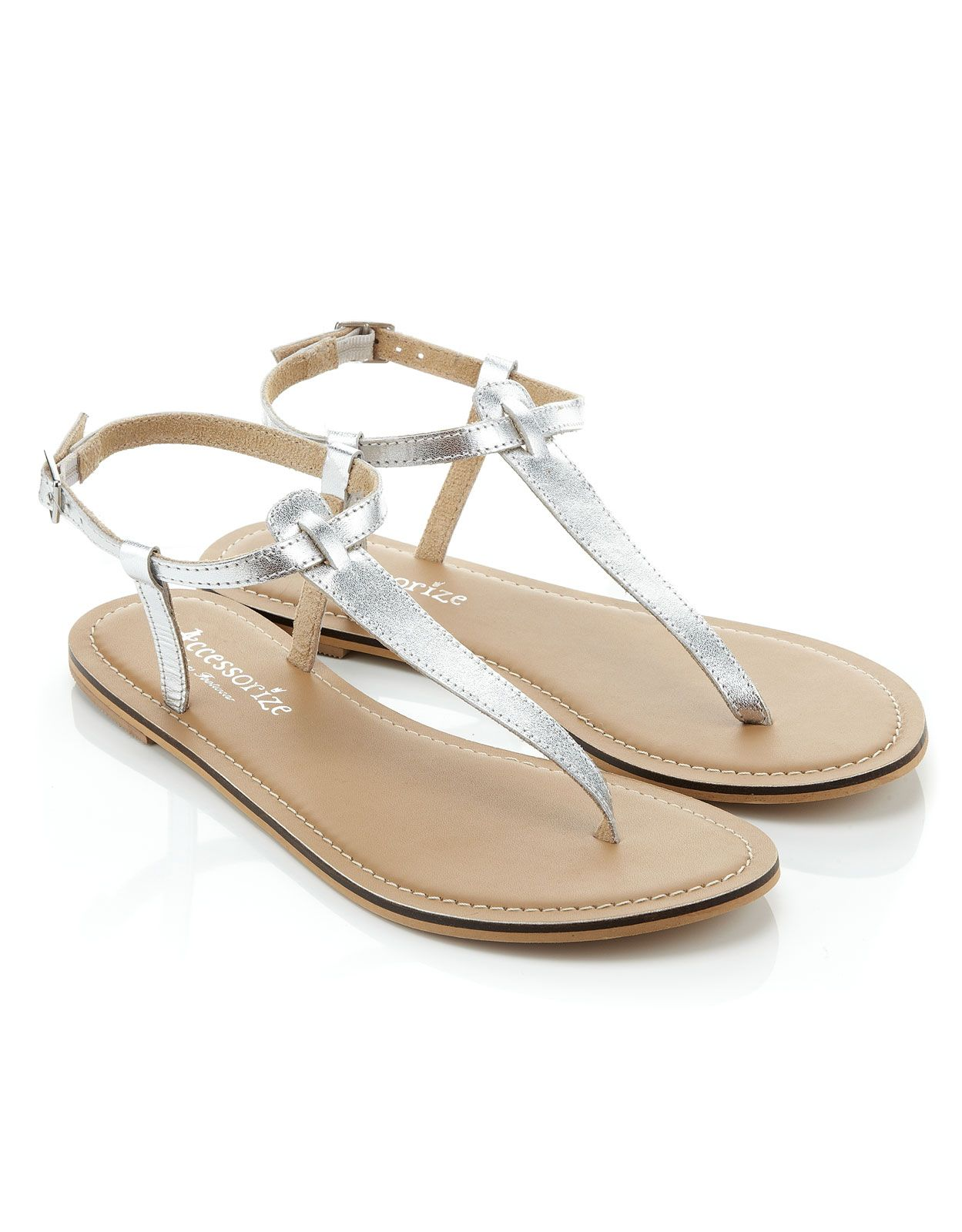 quality design 26c1f 4aef6 Schlichte Sandalen mit Zehensteg   Silber   Accessorize ...