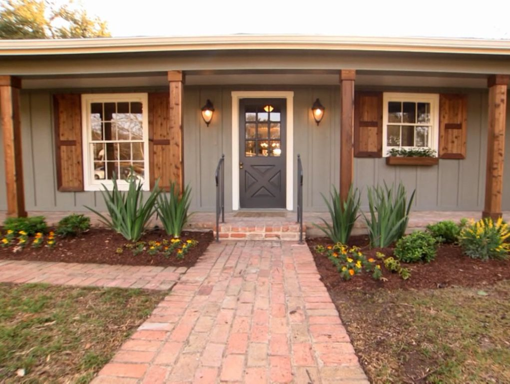 Exterior luver house s1e9 pinterest house curb appeal and porch - Red exterior wood paint plan ...