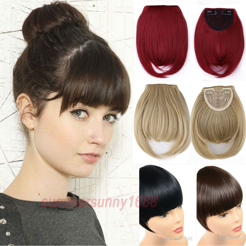 100 Real Natural Hair Extension Clip In Front Hair Bangs Fringe For