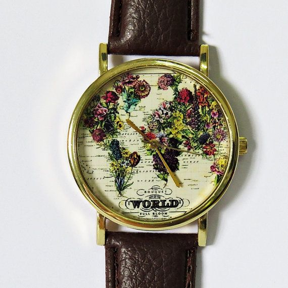 The world in full bloom map floral watch women mens watches the world in full bloom map floral watch vintage style leather watch women watches gumiabroncs Images