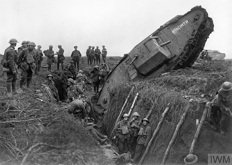A Mark IV (Male) tank of 'H' Bttn ditched in a German trench supporting Leicestershire Regt near Ribecourt-Battle of Cambrai, 20 Nov 1917.