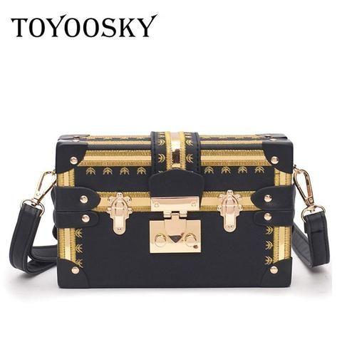 TOYOOSKY Vintage Handbags Clutch Retro Women Messenger Bags Panelled Box Bag  Rivet Crossbody Shoulder Bags Small Handbag Purse 5ae7a98be5d14