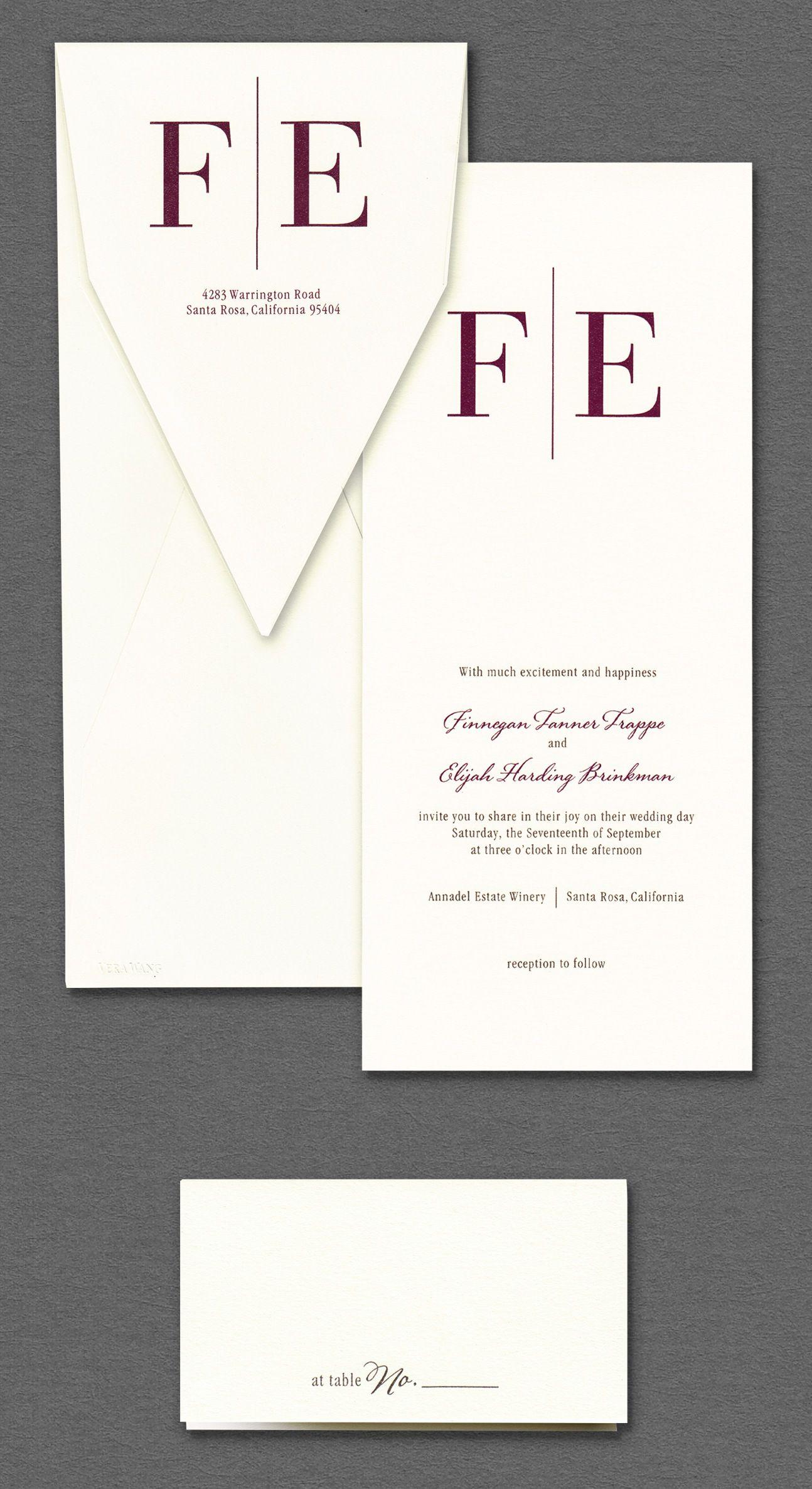 Vera Wang Wedding Invitations | Vera Wang Rectangular Monogram Wedding Invitation Available At Honey