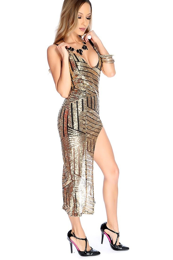 Sexy Gold Black Sequins Mesh Cut Out Party Dress