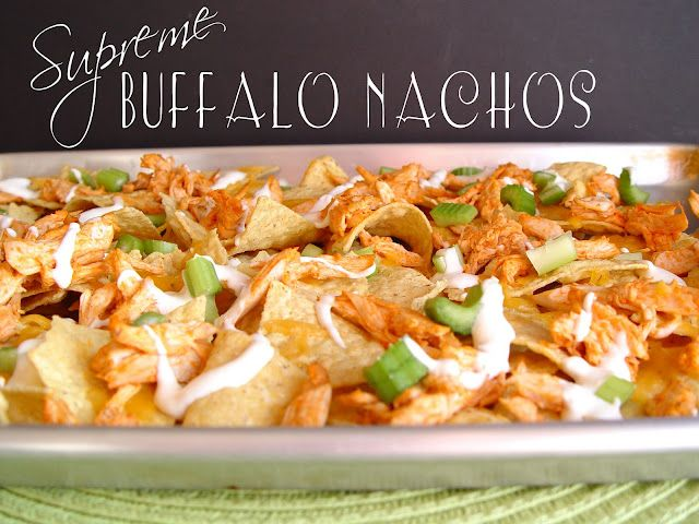 Jamie Cooks It Up! Website...really like her stuff! Easy to make and delicious. This Supreme Buffalo Nachos was SuperBowl fodder, but since I don't watch football, I'd just make it for dinner some night!
