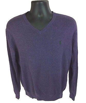 POLO RALPH LAUREN Men's V-Neck Sweater Size Large Purple Pima Cotton Green Pony