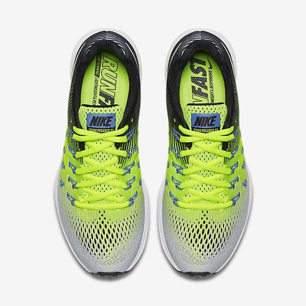 Nike, Air Zoom Pegasus 33 Women's Running Shoe in Matte Silver/Volt/Black