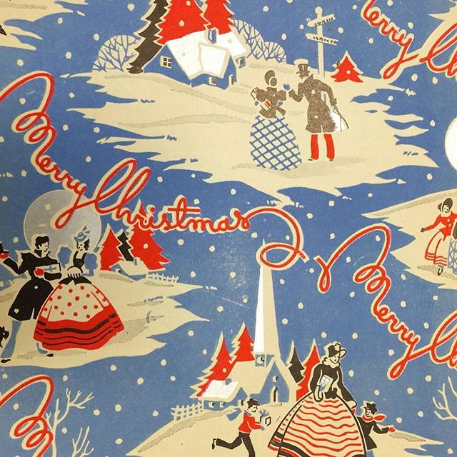 From the Picture Collection: Vintage holiday wrapping paper from 1940! ❤️☃❄️ #picturecollection100