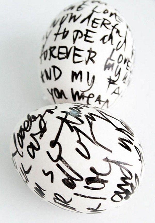 Schriftzüge sprüche auf eier schreiben-ostern dekoideen   Ostereier ...