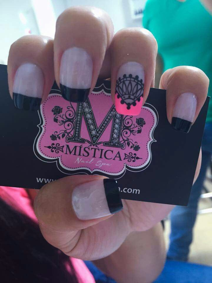 Pink and black nail design | Even More Nails | Pinterest | Black ...
