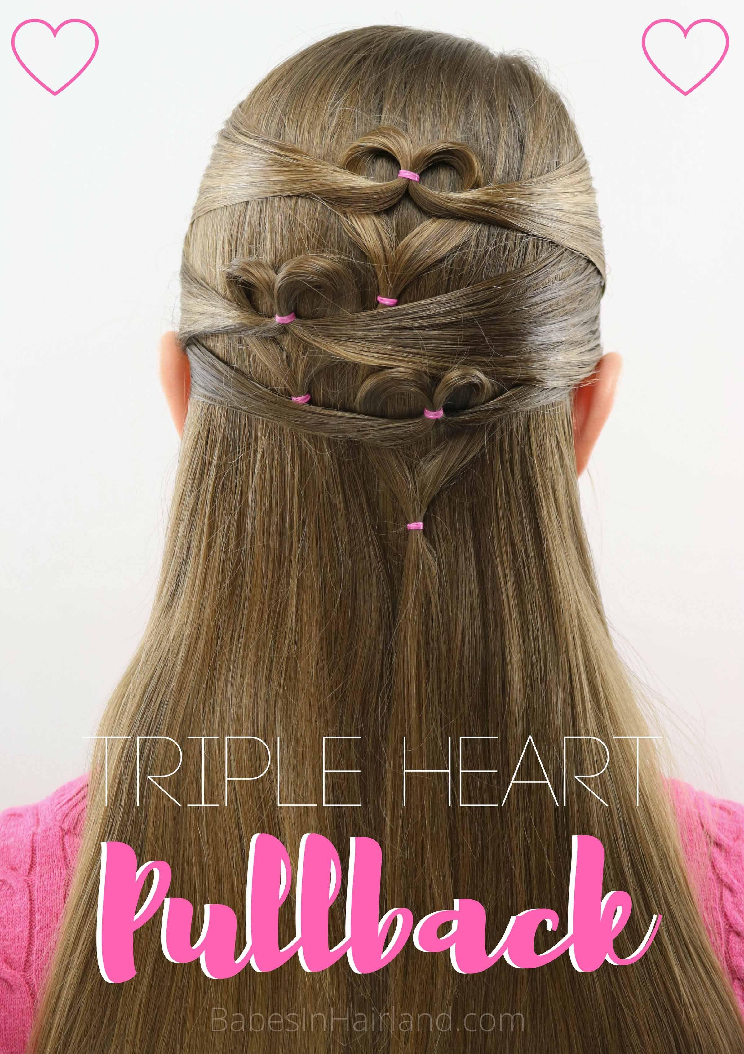 Triple Heart Pullback Cute Simple Valentine S Day Hairstyle Valentines Hairstyles Valentine S Day Hairstyles Heart Hair