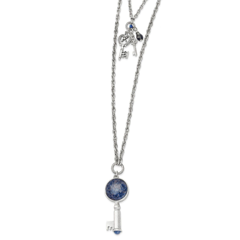 Silvertone sodalite u crystal key pendants necklace in womenus