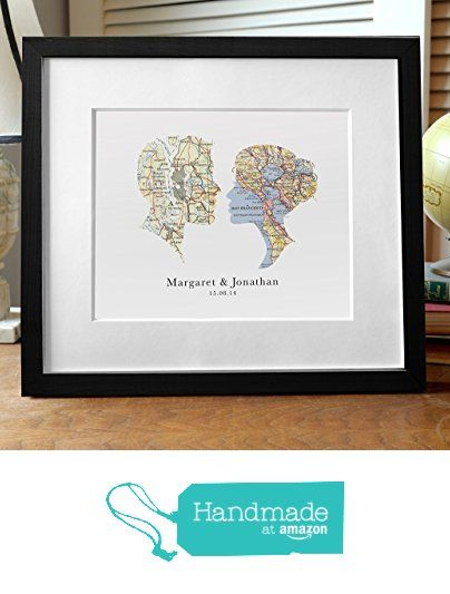 Amazon.com: Cameo Map Art Personalized Wedding Gift Print with Vintage Maps and Personalized Text: Handmade #personalizedwedding
