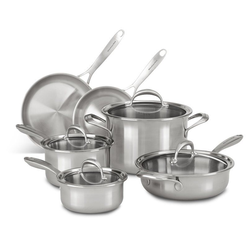 Kitchenaid 10 piece 5 ply stainless steel cookware set